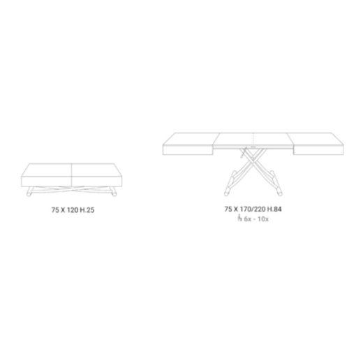 Tavolino Trasformabile Box Legno Abete Antico