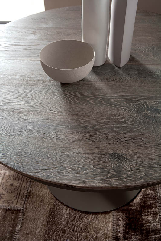 Tavolo rotondo allungabile eclipse legno ozzio italia for Tavolo rotondo allungabile legno