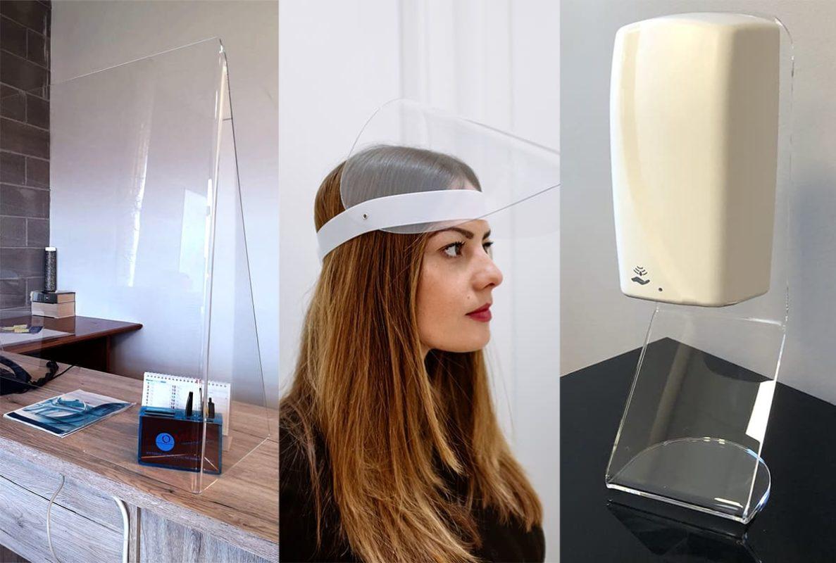 Barriere e maschere anticontagio e dispenser igienizzanti