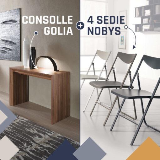 Consolle Allungabile Golia + Sedie Pieghevoli Nobys